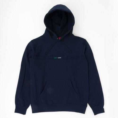 Embossed Logo Hooded Sweatshirt - Navy