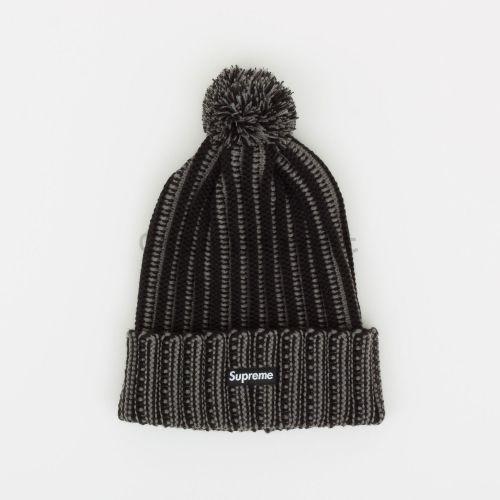 Contrast Stripe Beanie - Black