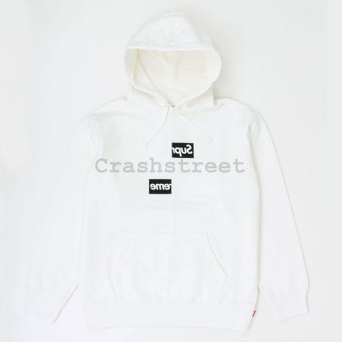 Comme des Garçons SHIRT Split Box Logo Hooded Sweatshirt - White