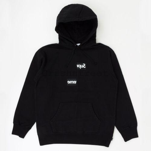 Comme des Garçons SHIRT Split Box Logo Hooded Sweatshirt - Black