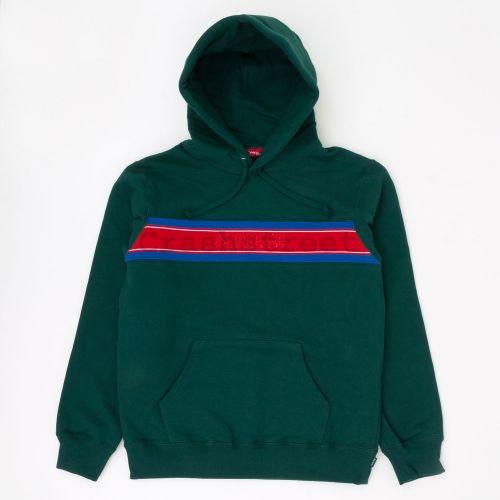 Chest Stripe Logo Hooded Sweatshirt - Green