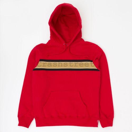 Chest Stripe Logo Hooded Sweatshirt - Red