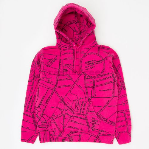Gonz Embroidered Map Hooded Sweatshirt - Pink